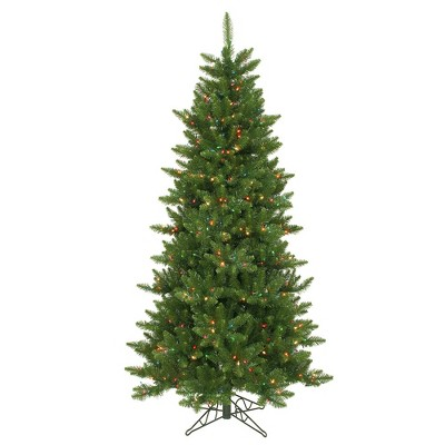 Vickerman Camdon Fir Slim 6.5 Foot Prelit Pencil Artificial Green Christmas Tree with Mini Multi Colored LED Lights and Stand