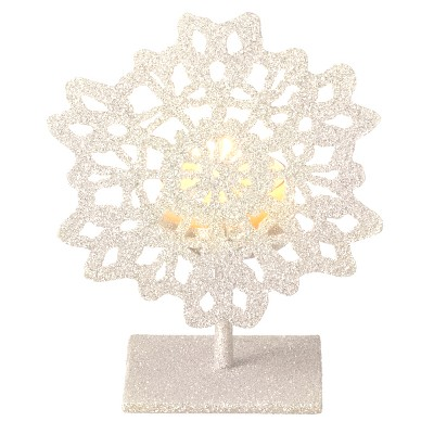 """Ganz 5"""" Silent Luxury Off-White Glitter Drenched Snowflake Tea Light Candle Holder"""