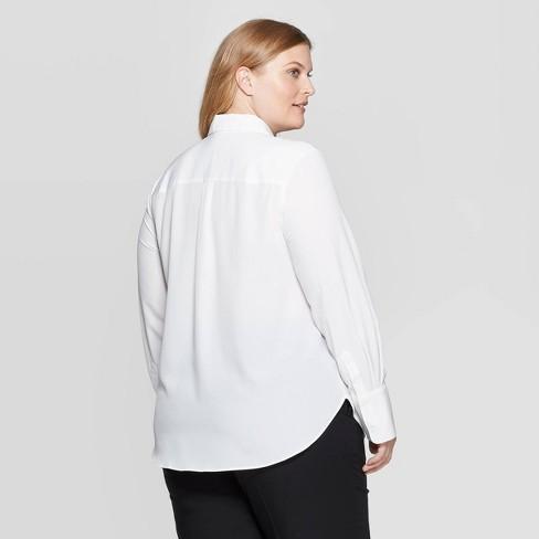 cd0e1a47d Women's Plus Size Long Sleeve Collared Button-Down Blouse - Prologue ...