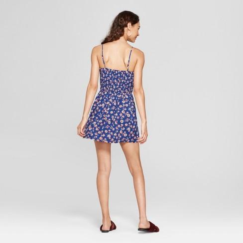 0842c7c82c4f Women s Floral Print Strappy Walkthrough Romper - Xhilaration™ Navy M    Target