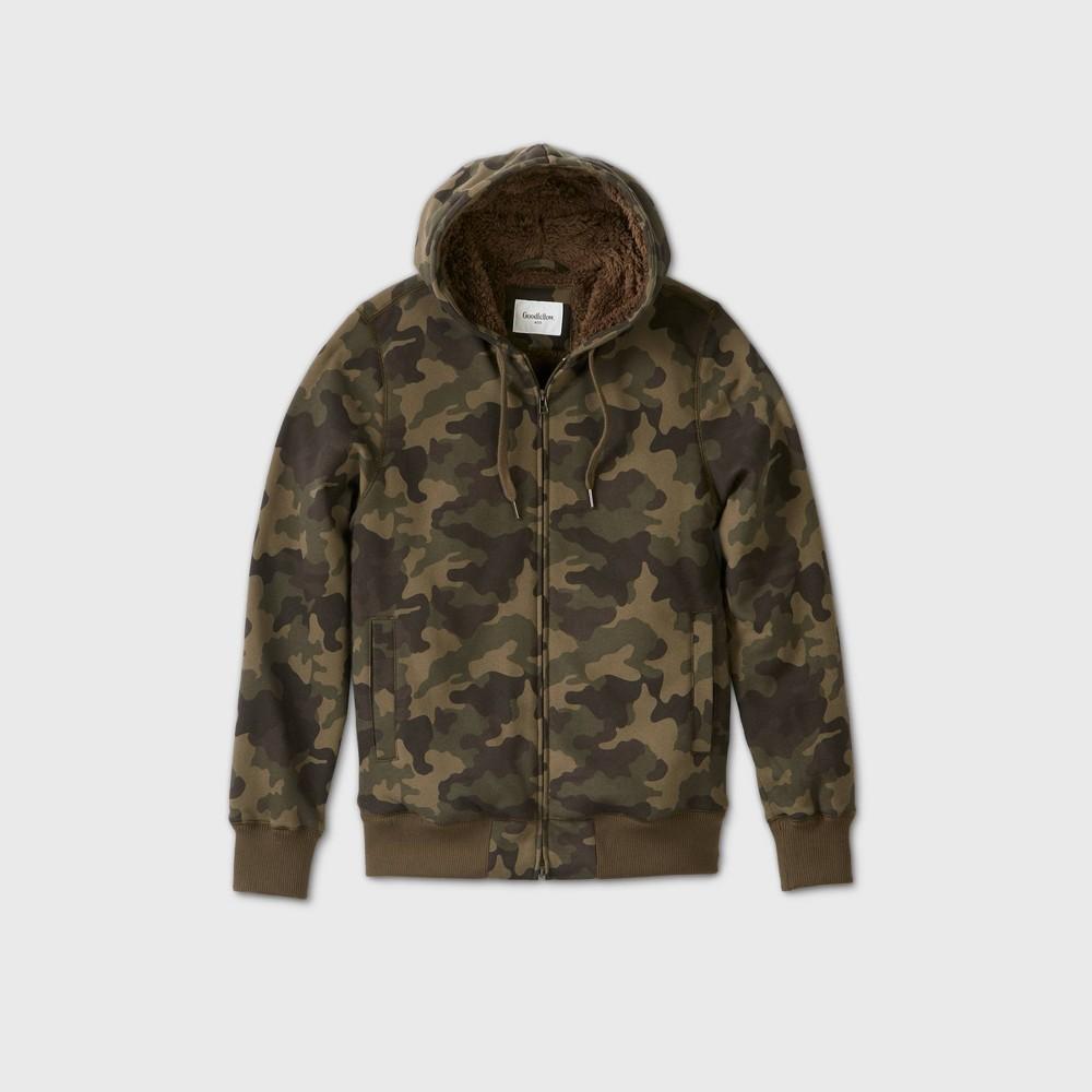 Men's Camo Print Sherpa Hooded Lined Fleece Jacket – Goodfellow & Co S, MultiColored