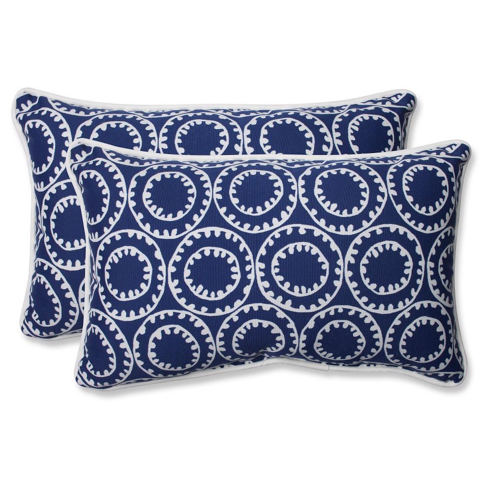 Pillow Perfect Ring A Bell Outdoor 2 Piece Lumbar Throw Pillow Set Blue