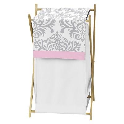 Sweet Jojo Designs Pink Gray Elizabeth Laundry Hamper- Pink-Gray-White