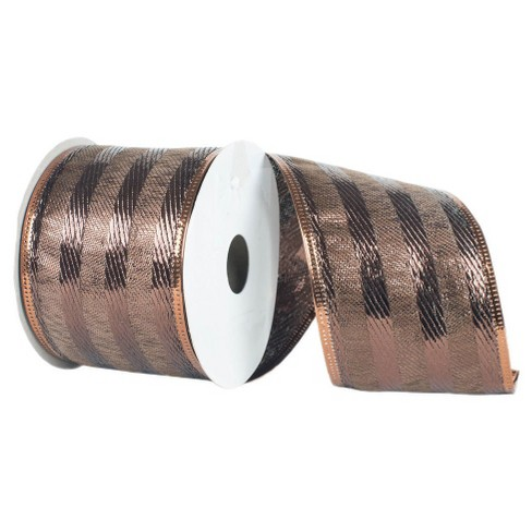 "Striped Wired Edged Ribbon Mocha 4"" x 10 yards - image 1 of 2"