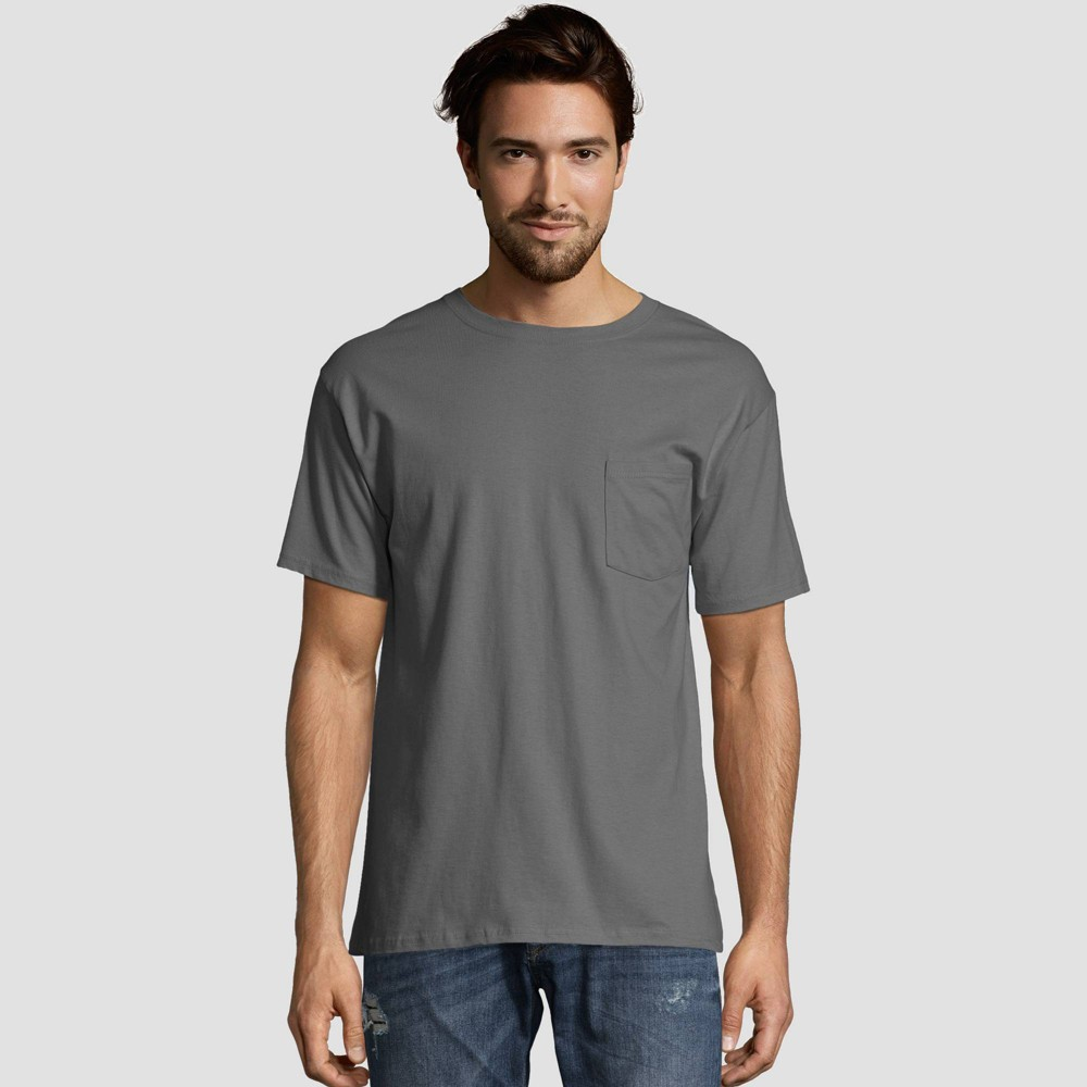 Hanes Men 39 S Heavyweight Crew Neck Short Sleeve T Shirt 2pk Smoke S