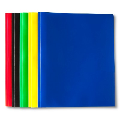5pk 2 Pocket Plastic Folders with Prongs - up & up™