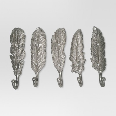 Feather Hooks set of 5 - Silver - Threshold™