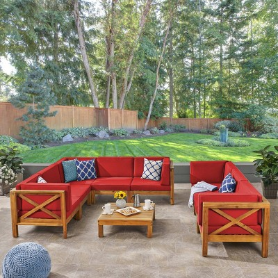Brava 9pc Acacia Sectional Sofa & Table Set - Christopher Knight Home