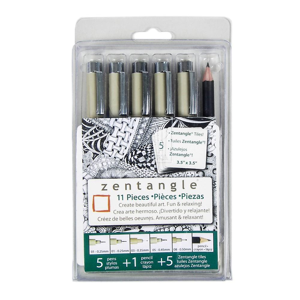 Zentangle Drawing Sets Original White 12ct - Sakura, Black