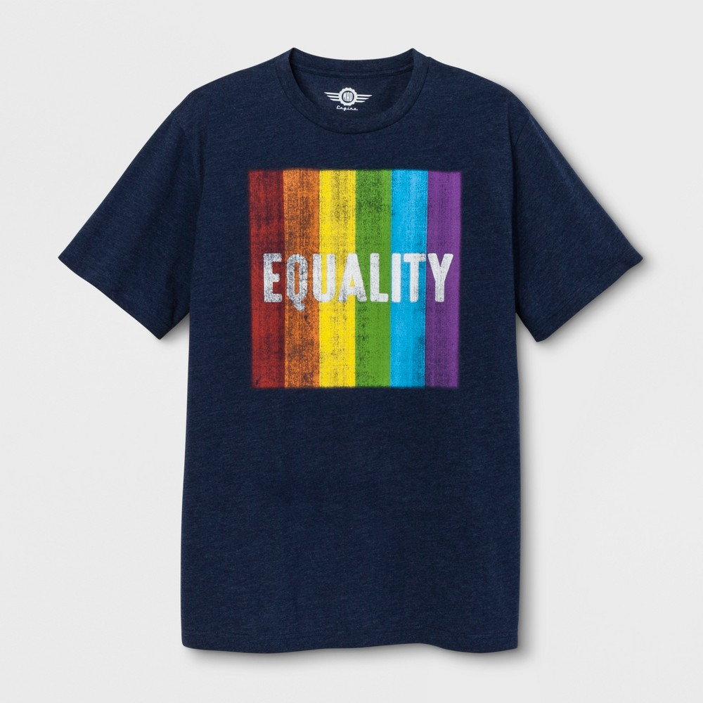 Pride Adult Extended Size Short Sleeve Equality T - Shirt - Heathered Deep Navy 4XLT, Men's, Blue