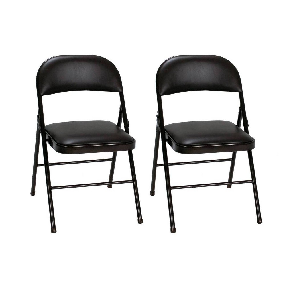 Image of Cosco 2pk Vinyl Padded Folding Chair Black