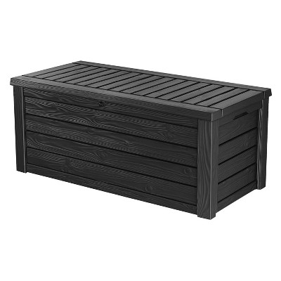 Keter Westwood Outdoor Resin Deck Storage Box Bin Organizer for Patio Furniture, Pool Toys, and Yard Tools with Natural Design, 150 Gallon, Dark Grey