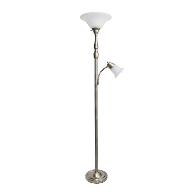 """71"""" 3-way 2 Light Mother Daughter Floor Lamp Antique Brass - Elegant Designs"""