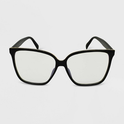Women's Tortoise Print Square Blue Light Filtering Glasses - Wild Fable™ Black