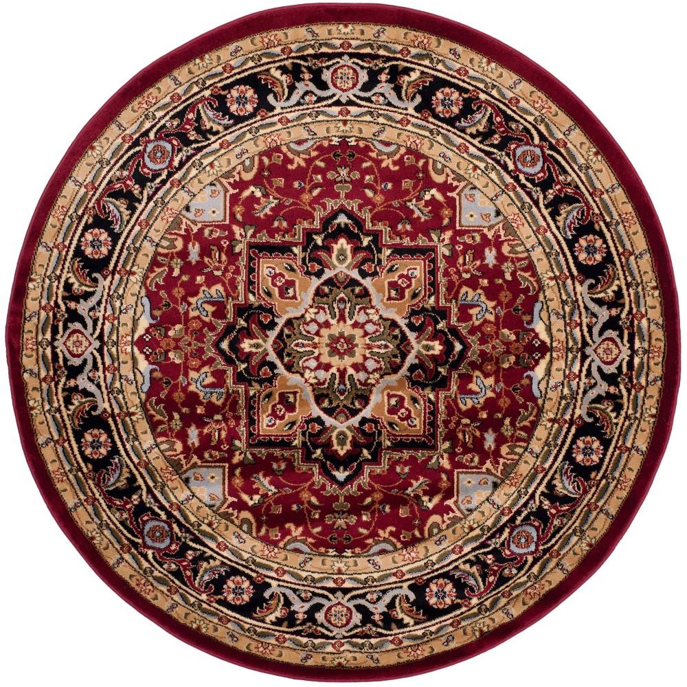 Red/Black Floral Loomed Round Area Rug 5'3 - Safavieh, Brown