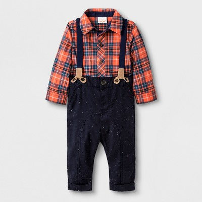 Baby Boys' 2pc Collared Button-Down Poplin Bodysuit and Trousers - Cat & Jack™ Blue/Orange 0-3M