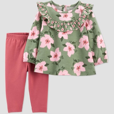 Baby Girls' Floral Top & Bottom Set - Just One You® made by carter's Green Newborn
