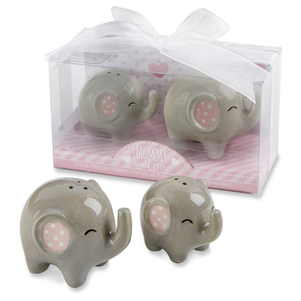 Image of 12ct Kate Aspen Little Peanut Ceramic Elephant Salt & Pepper Shakers, Gray