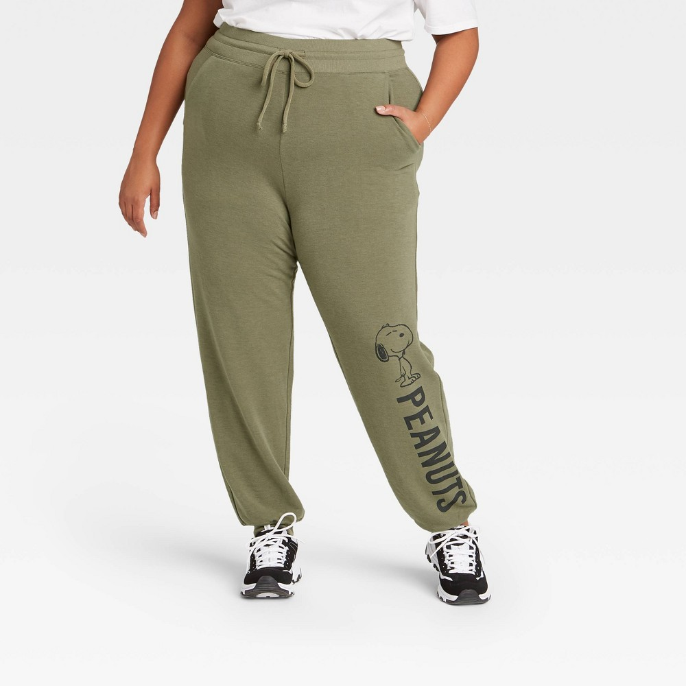 Women 39 S Peanuts Plus Size Jogger Pants Green 1x