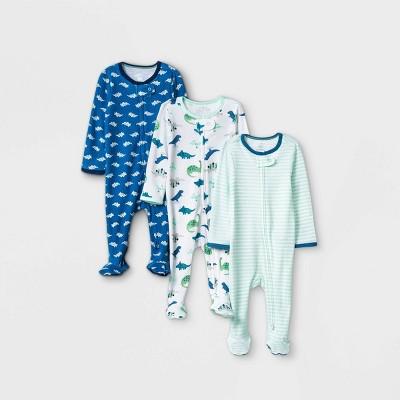 Baby Boys' 3pk Dino Zip-Up Sleep N' Play - Cloud Island™ Blue 0-3M