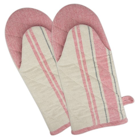 Set of 2 White/Pink French Stripe Oven Mitt - Design Imports - image 1 of 1