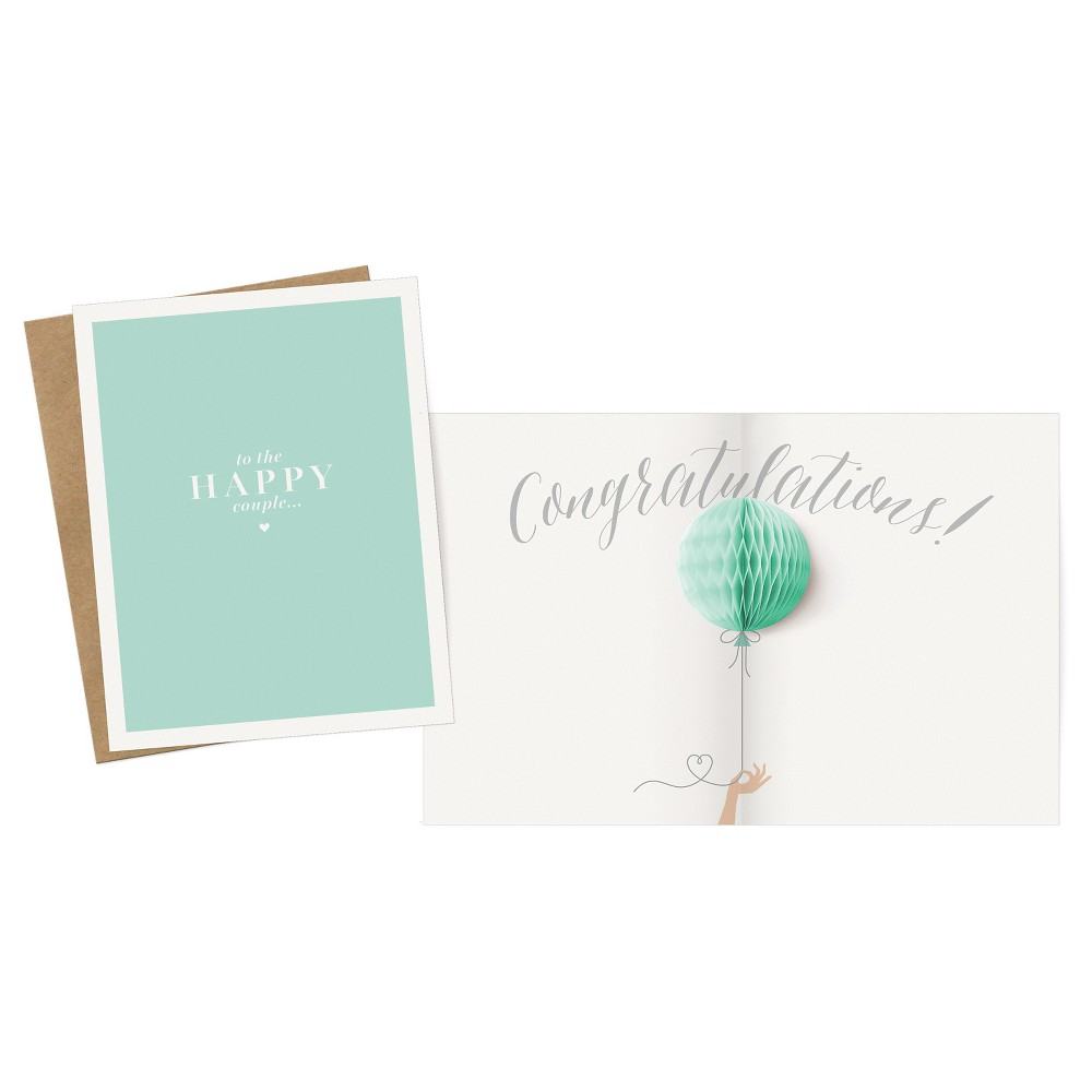 """Image of """"""""""""Congratulations"""""""" Happy Couple Pop-up Card, Green"""""""