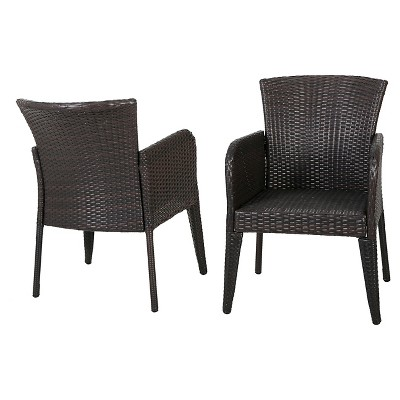 Anaya Set of 2 Wicker Patio Dining Chair - Brown - Christopher Knight Home