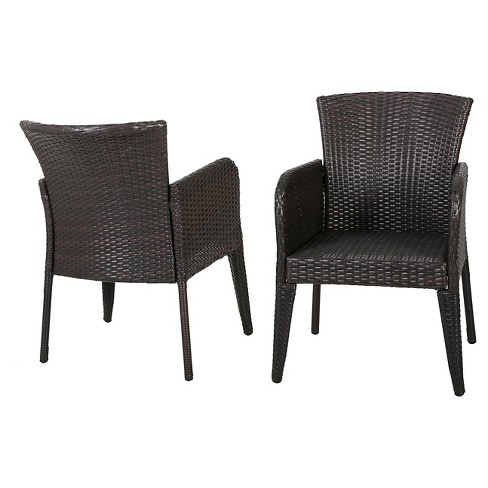 Anaya Set of 2 Wicker Patio Dining Chair - Brown - Christopher Knight Home - image 1 of 4