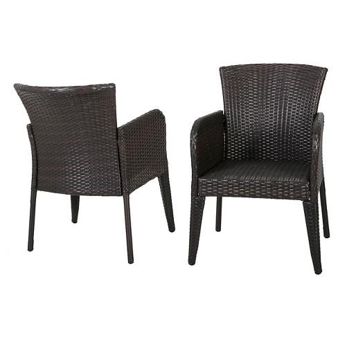 Miraculous Anaya Set Of 2 Wicker Patio Dining Chair Brown Christopher Knight Home Spiritservingveterans Wood Chair Design Ideas Spiritservingveteransorg