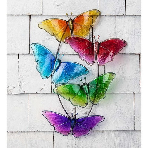 Watercolor Multi Butterfly Glass 3D Wall Art - Plow & Hearth - image 1 of 1
