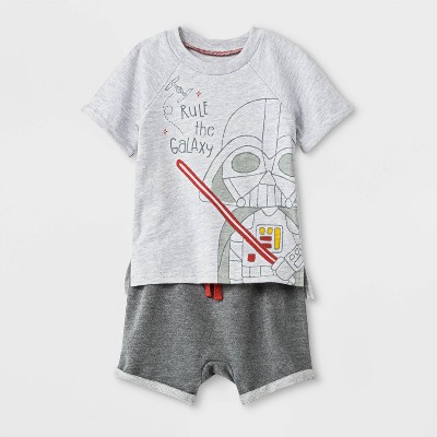 Baby Boys' 2pc Star Wars Darth Vader T-Shirt and Shorts Set - Gray 6-9M