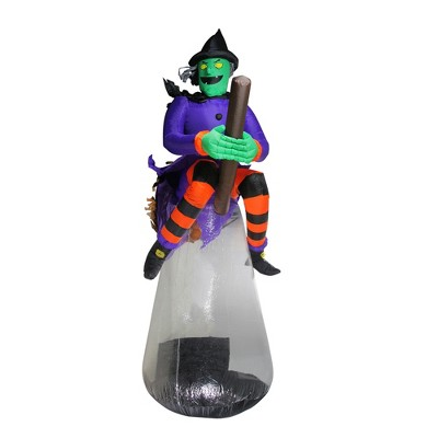 Northlight 10' Halloween Prelit LED Inflatable Flying Witch with Animation Outdoor Decoration - Purple/Black
