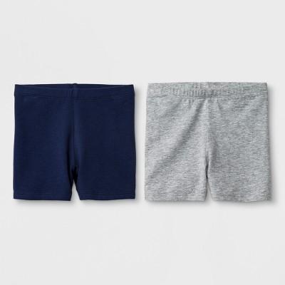 Toddler Girls' 2pk Biker Shorts - Cat & Jack™ Navy & Gray 2T