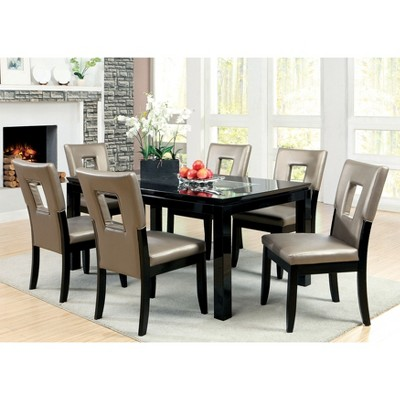 IoHomes Glass Insert Table Top Dining Table Wood/Black : Target