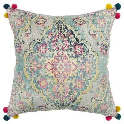 "20""x20"" Oversize Medallion Polyester Filled Square Throw Pillow Yellow/Pink - Rizzy Home"
