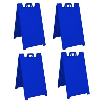 Plasticade Signicade Portable Folding Sidewalk Double Sided Sign Stand for Indoor or Outdoor Use at Parties, Conferences, or Sales, Blue (4 Pack)