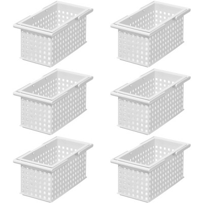 Like-It Versatile Plastic Stacking Home Bathroom Storage Solution Organizer Slotted Basket Tote, White (6 Pack)