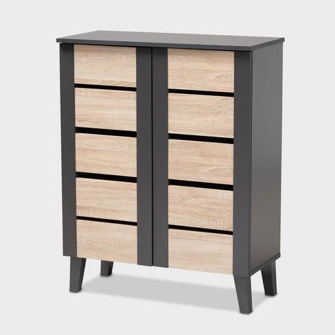 Melle Two Tone Oak And 2 Door Wood Entryway Shoe Storage Cabinet Brown Baxton Studio Target