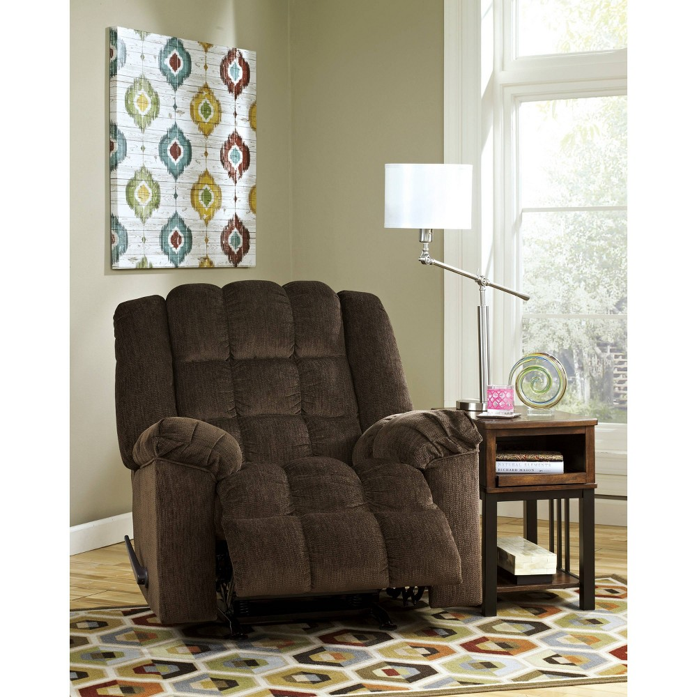 Image of Ashley Ludden Rocker Recliner In Twill Cocoa - Flash Furniture, Brown