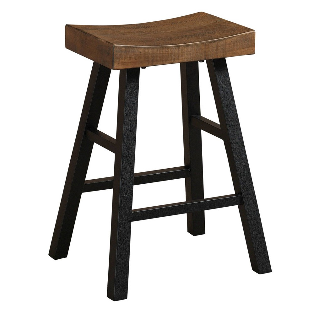 "Image of ""26"""" Atterbury Stool Reclaimed Wood Seat Graphite Gray - American Heritage Billiards"""