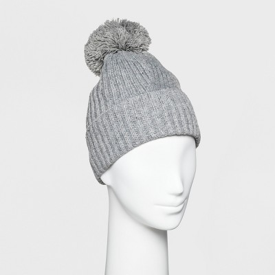 Women's Ribbed Cuff Pom Beanie - A New Day™ Gray
