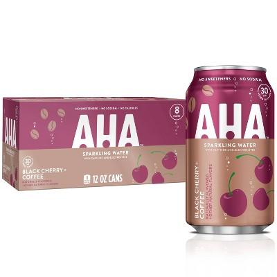 AHA Black Cherry + Coffee Sparkling Water - 8pk/12 fl oz Cans