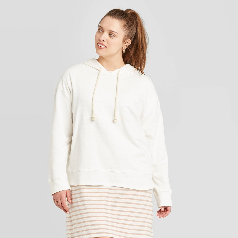 Women's Plus Size Hoodie Sweatshirt - Universal Thread White 1X was $24.99 now $17.49 (30.0% off)