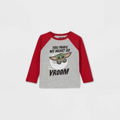 Toddler Boys' Star Wars Baby Yoda 'Vroom' Valentine's Day Raglan Long Sleeve Graphic T-Shirt - Red