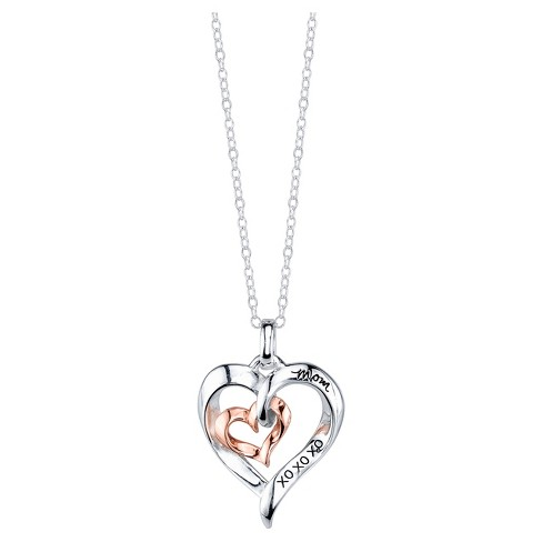 "Women's Sterling Silver Mom Double Heart Pendant - Silver/Pink Gold (18"") - image 1 of 2"