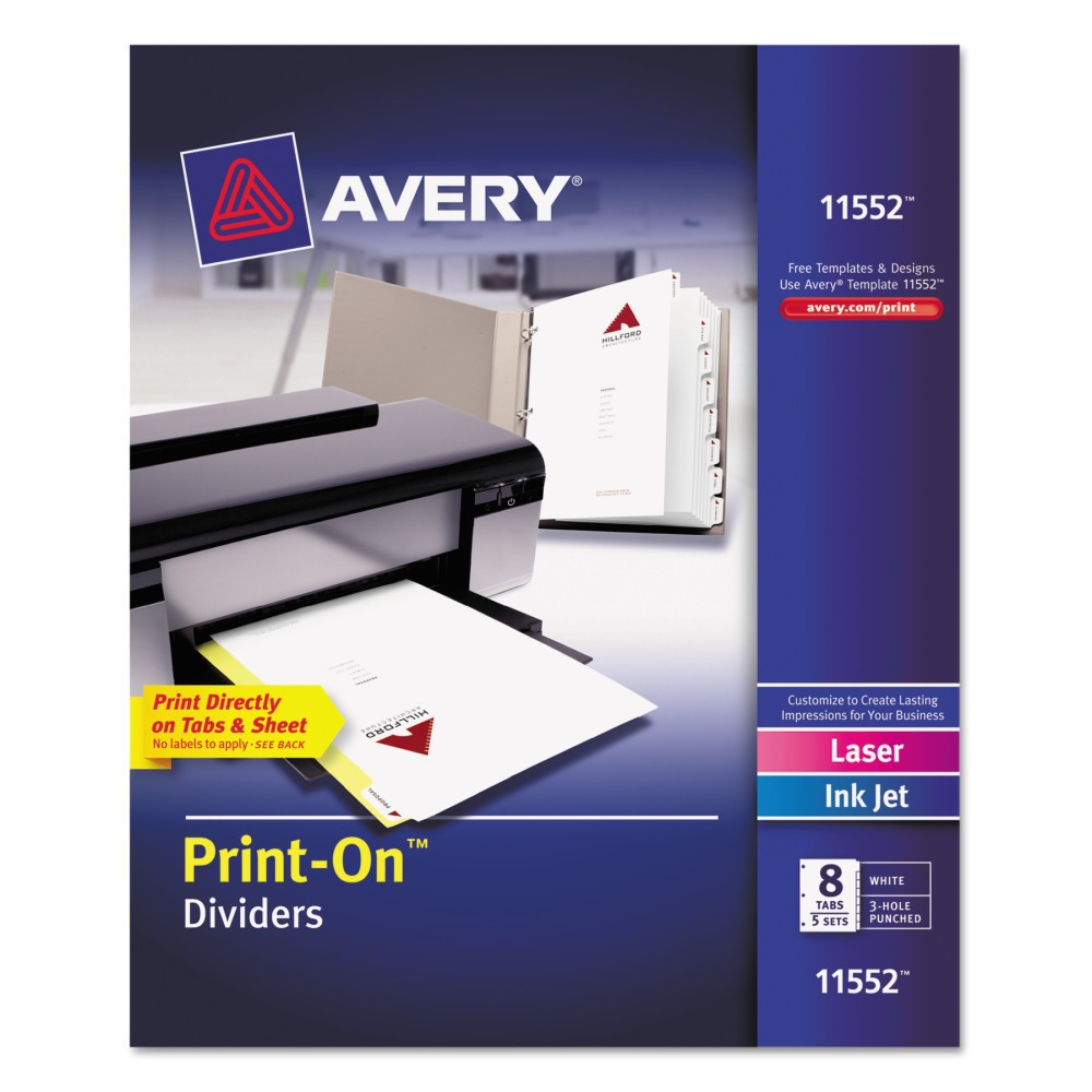 Avery 8-1/2 x 11 Print-On Dividers, 8-Tab, 3-Hole Punched- White (5 Sets per Pack)