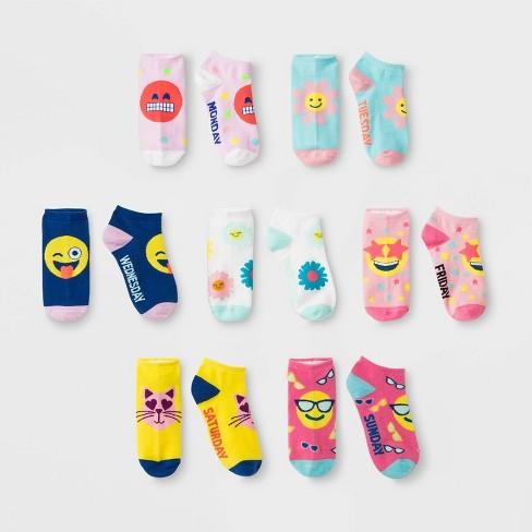 Girls' 7pk Flower & Emoji Days of the Week No Show Socks - Cat & Jack™ - image 1 of 1