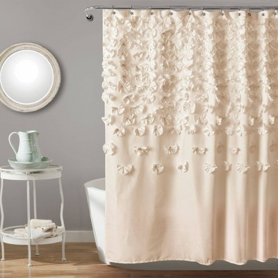 Lucia Scattered Flower texture Shower Curtain Ivory - Lush Décor