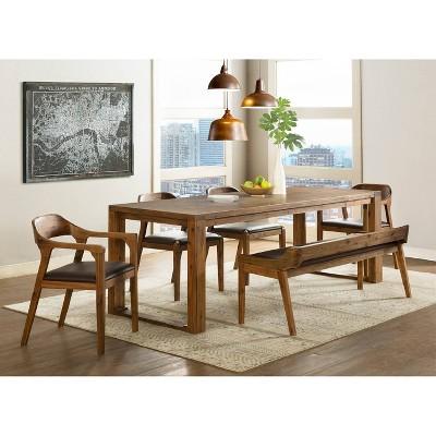 6pc Rasmus Extendable Dining Table Set Chestnut Wire-Brush - Boraam