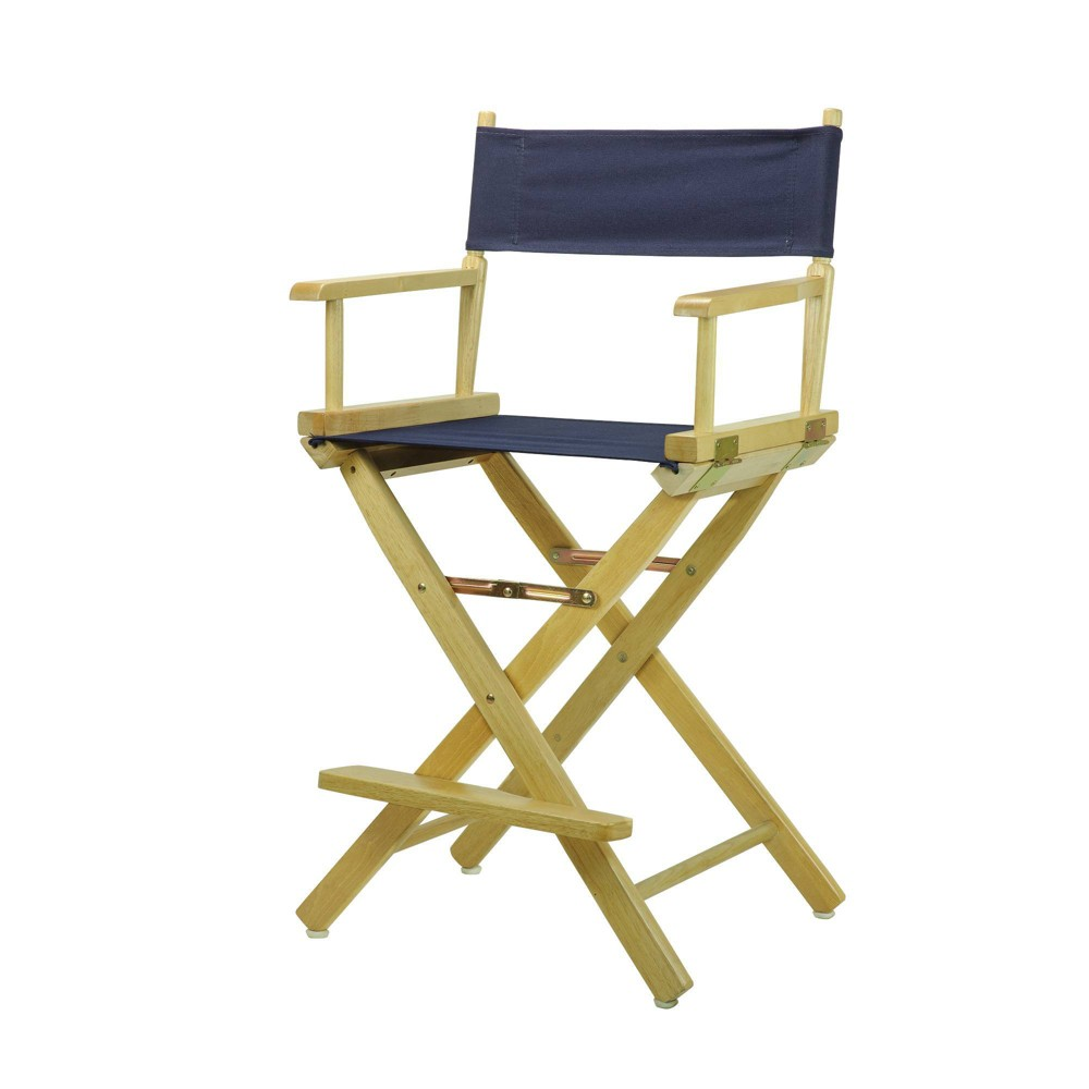 Director S Chair Counter Height Canvas Navy Blue Natural Flora Homes